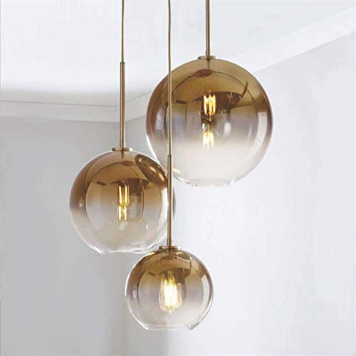 Renqian kroonluchter glas kroonluchter licht luxe kleurverloop champagne goud glazen bol lamp drie koppen disc combinatie woonkamer eetkamer kroonluchter