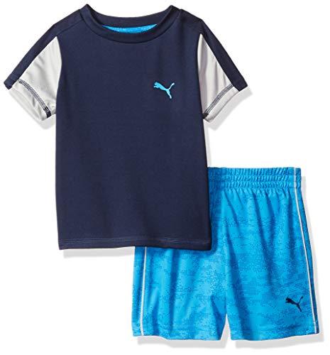 PUMA Baby Boys' T-Shirt & Short Set, Coal Heather Grey, 0-3 Months