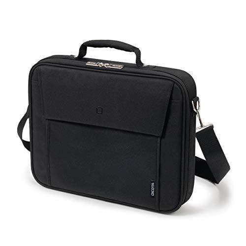 Dicota Multi 14–15,6 Zoll BASE Umhängetasche für Laptop, Computer und Tablet, Leichtgewichtige Aufklappbare Clamshell-Laptoptasche, Schwarz