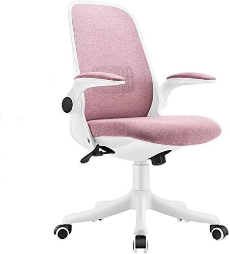 Sillas de Oficina Silla de Escritorio de Oficina para el hogar Tela Moderna Silla de Oficina Baja con sillas de Oficina de Altura Ajustable (Color : Pink)