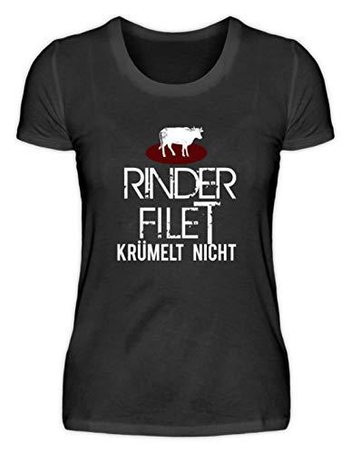 Filet de bœuf amusant avec inscription en allemand Krümelt Nicht! - T-shirt pour femme avec inscription en allemand FleischBBQ Veggie Grillllen Essen Food Anti - Noir - XL