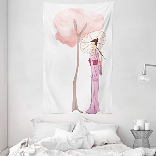 ABAKUHAUS Muchacha del Paraguas Tapiz de Pared y Cubrecama Suave, Mujer árbol de la Flor, Resistente a la Suciedad, 140 x 230 cm, Rosa bebé y Multicolor