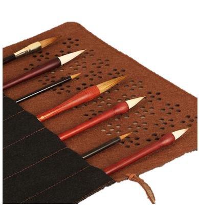 MeRaPhy)羊毛 混合 ウール ブレンド 毛筆 等用 やわらか 筆巻き 筆入れ 書道 習字 水墨画 7本 収納