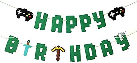 Pixel Gaming Happy Birthday Banner- Video Game Gaming Party Decorations,Pixelated