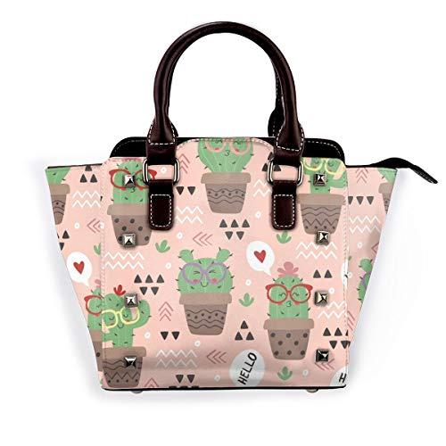 LalaQ Bunte abstrakte sechseckige Fliesen Frauen Mode Echtleder Nieten Schultertasche Mädchen Reise Schule Mini Handtasche, Cartoon Lustige Kaktus in Brille - Größe: Einheitsgröße