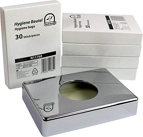 Medi-Inn Spender für Hygienebeutel Hygienebeutelbox (1 x Box verchromt + 150 Hygienebeutel)
