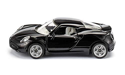 Siku 1451, Alfa Romeo 4C Sportwagen, Metall/Kunststoff, Schwarz, Öffenbare Türen, Spielzeugauto für Kinder