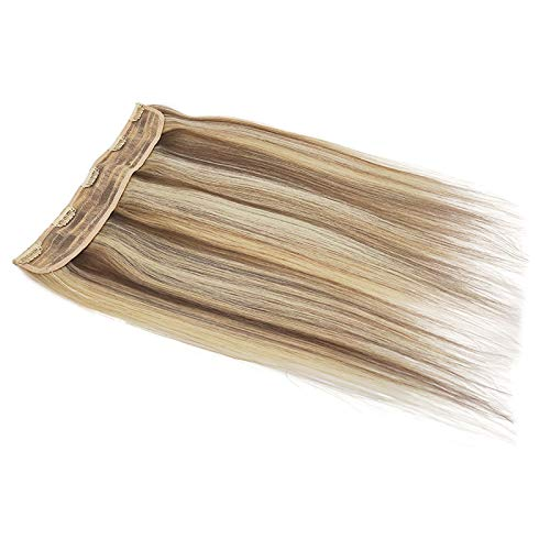 """100% Remy Clip in Human Hair Extensions Half Head 1 Piece 5 Clips Long Thick Soft Silky Straight Human Hair (18"""" 75g, P6/16/613)"""