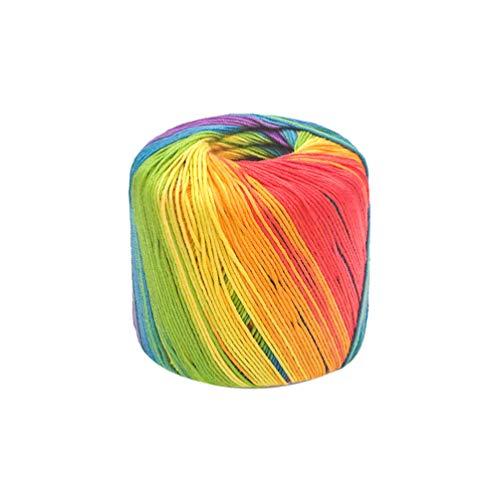 Healifty 133M Häkelgarn Strickgarn aus weichem Baumwollgarn mit Farbverlauf für Pullover, Schal, Mütze, Schal, Decke, Himmelblau, baumwolle, regenbogenfarben, 13300*0.2*0.2cm