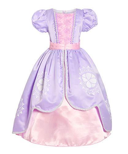 ReliBeauty - Vestido de princesa Sofía para disfraz, diseño de flores y encaje con cremallera morado 100 cm