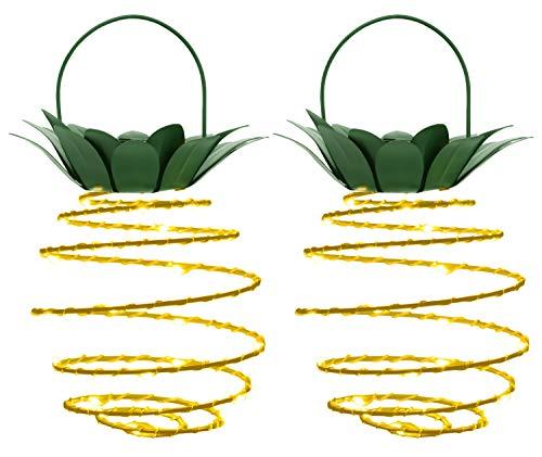 MoKo Pineapple Solar Lights, [2 Packs ] IP45 Waterproof 30 LED Solar Lantern, Warm White Fairy String Light with Hangers, Night Light for Outdoor Garden Yard Parties Bedroom Home Decor