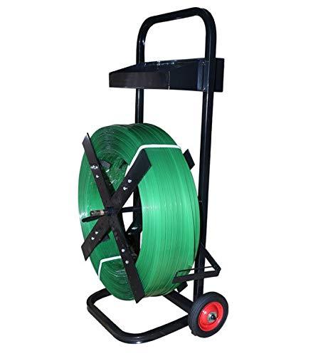 Abrollwagen mit Ablagebox für PP Umreifungsband | Bandabroller für PET Umreifungsbänder in Farbe schwarz | Abroller in stabiler Ausführung - PP Umreifungsgerät | Fahrbar