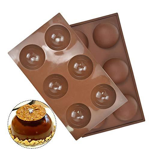 Set di 2 Stampo Silicone Semisfera, Grandi Semisfera Vassoio, Stampi a Cupola di Semisfera con 6 Cavità per Cioccolato,Torta, Gelatina, Pudding, Fatto a Mano Sapone, 3.5cm (Marrone)