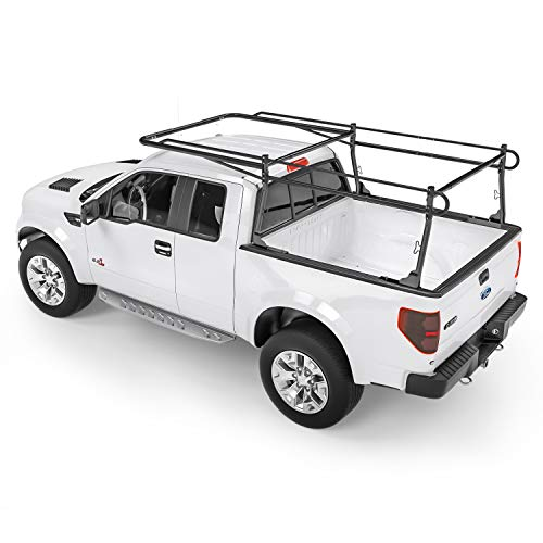 AA-Racks Model X31 Truck Bed Ladder Racks for Pickups with 55'' Side Bar Over Cab Ext. Lumber Utility Pipe Racks - Matte Black