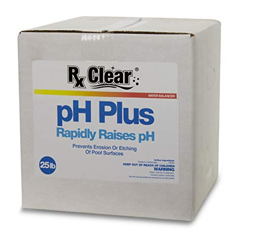Rx Clear Swimming Pool pH Plus | Rapid Raises pH Levels | Quickly Correct Acidic Water Conditions | Water Balancer | Prevents Erosion Or Etching of Pool Surfaces | 25 Pounds