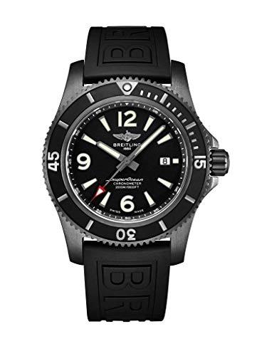 Breitling Superocean impermeable 2000 metros, acero negro, esfera negra, reloj de 46 mm