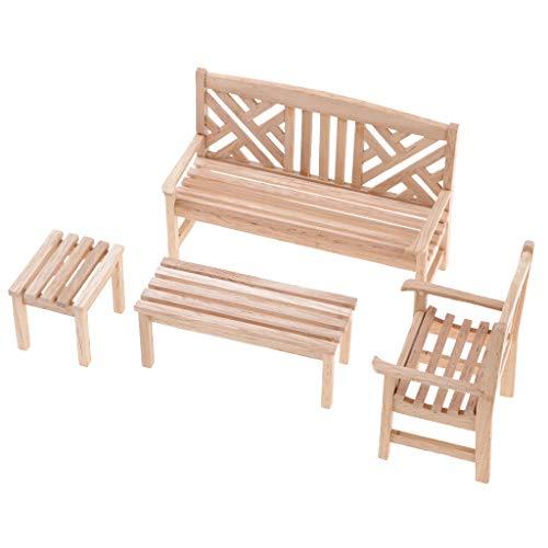 P Prettyia Miniatur Möbel für 1/12 Puppenhaus Wohnzimmer oder Garten Dekoration - Gartenbank+Stuhl+Tisch