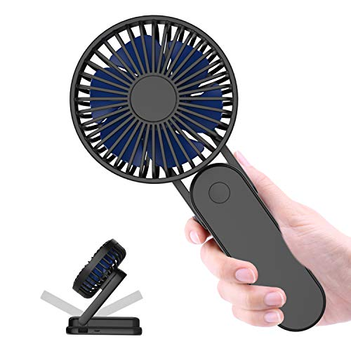 Portable Handheld Fan Battery Operated - Itshiny Personal Desk Fan with 3 Speeds, Strong Wind, Foldable Design for Kids Girls Woman Home Office Outdoor Travel - Black