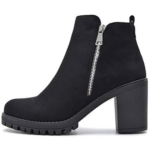 Vain Secrets Damen Chelsea Boots Plateau Stiefeletten Schwarz mit Reißverschluss Profilsohle (Schwarz Samt, Numeric_39)