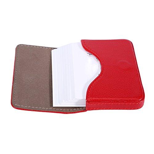 Leather Business Card Holder for Men Women, UBAYMAX Business Name Card Case Credit Card Holder Slim Card Wallet Carrier Leather Card Pocket Card Holder with Magnetic Shut Red