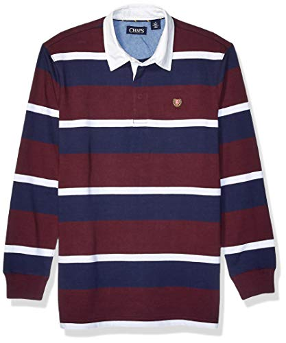Chaps Men's Heritage Collection Rugby Shirt, Rich Ruby Multi, XL