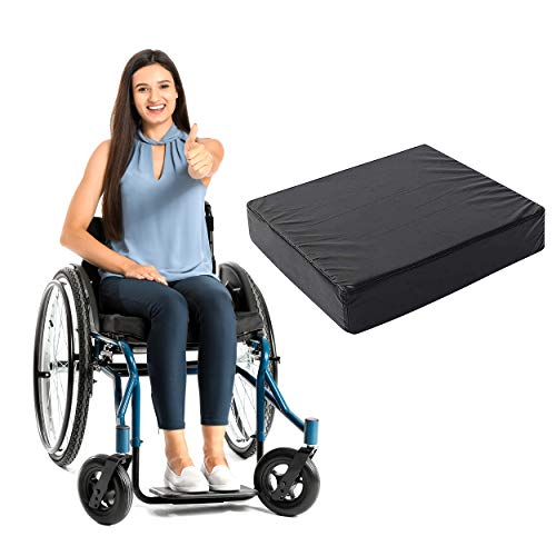 Memory Foam Wheelchair Cushion Seat - Orthopedic Back Support Comfort Chair Foam Improve Posture for Coccyx, Sciatica & Tailbone Pain Relief with Waterproof PU Cover (18' x 16' x 4')