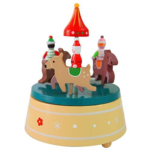 BGFBHTY Caja de música Árbol de Navidad Ocho Tono Caja Navidad Fantasía Caja de música giratoria de Madera Decoración de Navidad Regalo de cumpleaños de Año
