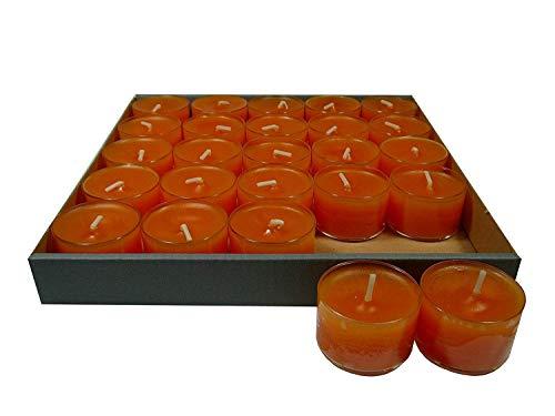 Lot de 25 petites bougies à chauffe-plat en acrylique, orange/mandarine jusqu', à 8 heures, klarsichtgehäuse, coque de protection transparente, boîtes de propriétés spécifiques **