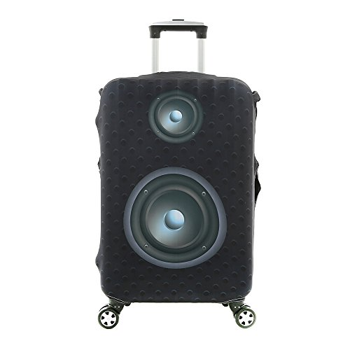 7-Mi 3D Suitcase Cover Black Sound Speaker Design Travel Luggage Cover Protector Elastic Sleeve Cover 29'-30' Anti-Scratch Luggage Cover Size XL