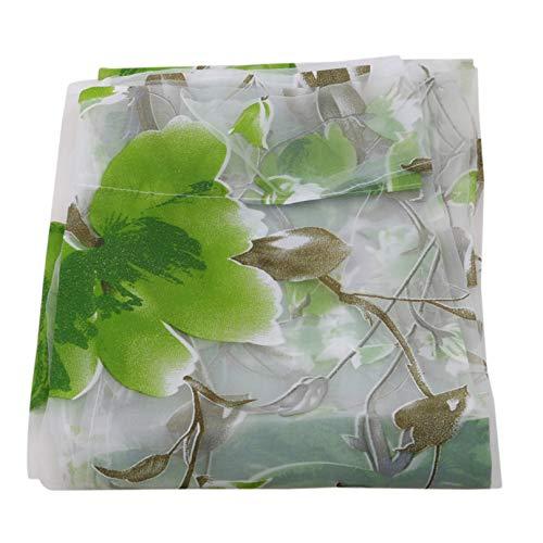 Eleusine Elegante Blumenreben Blätter Tüll Voile Tür Fenster Vorhang Vorhang Panel Sheer Schal Volants, 1x2m (grün)