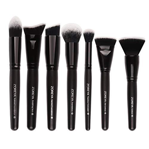 Eyeshadow Brushes Ensemble de 7 pièces noires, brosse intensive pour le visage Kabuki, pinceau à fond plat Outil de maquillage professionnel, pinceau de maquillage universel (Couleur : NOIR)