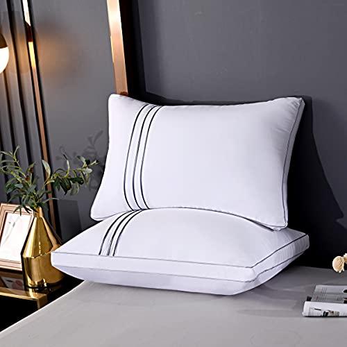 ZCF Juego de 2 almohadas de plumón en lugar de almohadas hipoalergénicas, almohada altamente elástica de 70x45 cm (950 g / por) con relleno 100% de fibra de polietileno (blanco)