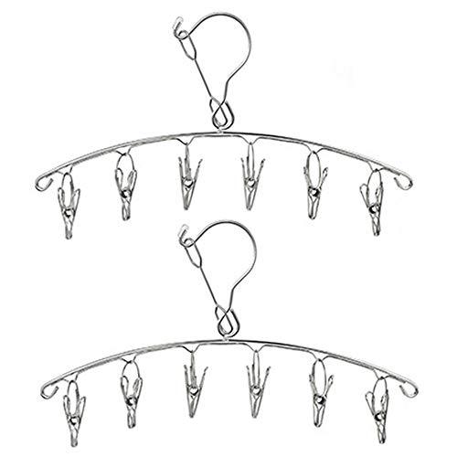 Xkfgcm 2 Piezas Tendedero para Calcetines Tendedero de Clips Secador de Calcetines de Acero Inoxidable con 6 Pinzas para Calcetines Ropa Interior Suelas de Zapatos Ropa de bebé(6 Clips)