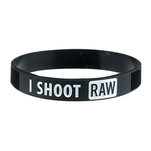 DSLRKIT I Shoot Raw Photography White Silicone Bracelet Photographer's Wristband