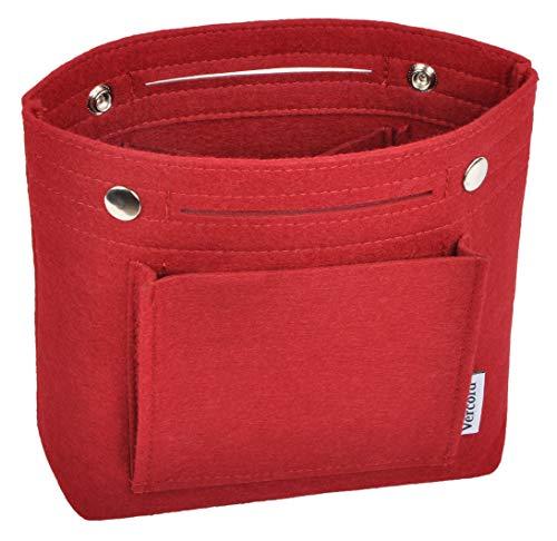 Vercord Mini Slim Small Felt Purse Organizer Insert Inside Handbag Tote Pocketbook for Women Burgundy