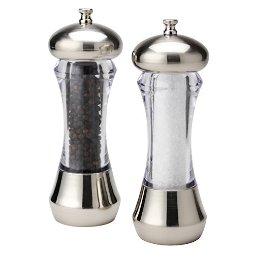 Olde Thompson 5595-00 Sienna Mess-Free Salt & Pepper Mill, 7', Silver/Clear