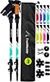 TrailBuddy Lightweight Trekking Poles - 2-pc Pack Adjustable Hiking or Walking Sticks - Strong Aircraft Aluminum - Quick Adjust Flip-Lock - Cork Grip, Padded Strap - (Aqua Sky)