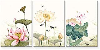Wall26-3 Panel Canvas Wall Art- Simple and Elegant Lotus -Giclee Painting Wall Bedroom Living Room Home Decoration - 16