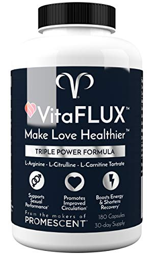 VitaFLUX Triple Power Nitric Oxide Supplement for Male Performance, Stamina, Energy, Recovery - L Arginine 2000mg, L Citrulline 1000mg, L Carnitine 1000mg, Zinc, Magnesium - Amino Acids, 180 Capsules