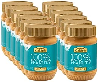 Crazy Richard's All Natural Creamy Peanut Butter 100% Peanut Non GMO Salt, Sugar, and Palm Oil Free (Creamy Peanut Butter, 12 Jars)