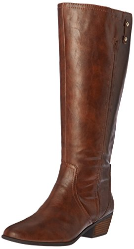 Dr. Scholl's Shoes womens Brilliance Wide Calf Riding Boot, Whiskey, 8 US