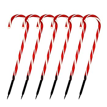 """Joiedomi Christmas Candy Cane Pathway Markers Lights 17"""" Set of 6 Christmas Stakes Lights Outdoor Pathway Decorations"""