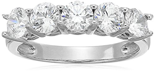 Platinum-Plated Sterling Silver Round-Cut 5-Stone Ring made with Swarovski Zirconia (2 cttw), Size 6