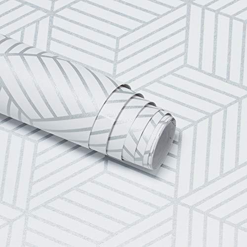 Papel Pintado Blanco para Muebles Hexagonal Geométrico a Rayas Fondo de Pantalla Autoadhesivo Papel Pintado Plata Decoración de Pared para Muebles de Pared Puerta de Cocina 45 * 300CM Vinilo