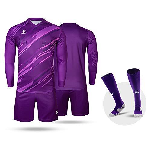 KELME Customize Padded Soccer Goalie Jersey Goalkeeper Shorts, Youth Matching Uniform Long Sleeve Bundle, Adult Keeper Kit Shirts Pants Socks Futsal Set Women Purple M