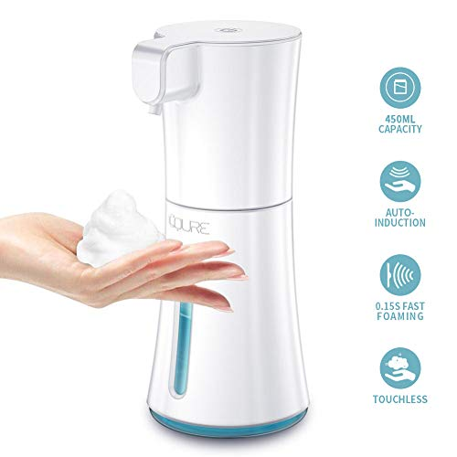 CQURE 450ml/15.2oz Automatic Soap Dispenser,Automatic Foaming Hand Free Soap Dispenser Touchless, Battery Operated Foam Liquid Soap Dispenser for Bathroom Kitchen (White)
