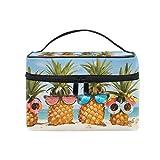 CPYang Bolsa de maquillaje de viaje para verano, playa, piña tropical, portátil, organizador de cosméticos, bolsa de aseo, bolsa de maquillaje, tren para mujeres y niñas