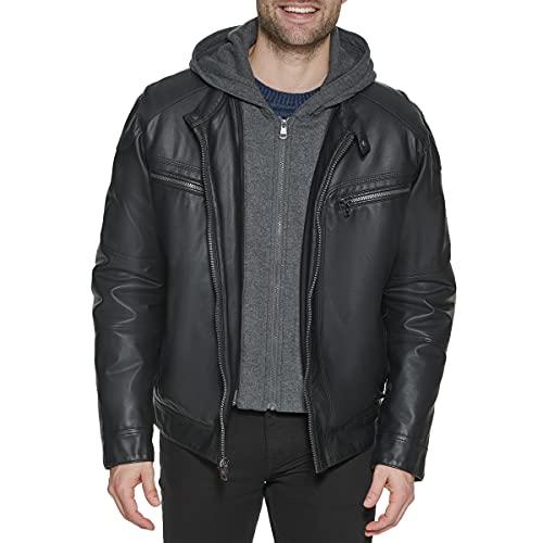 Calvin Klein Men's Faux Lamb Leather Moto Jacket with Hoodie, Black, X-Large