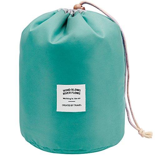 Mermaid Travel Cosmetic Bag Makeup Bags Pouches Organiser Ladies Toiletry Bag Wash Bags Nylon Large Capacity Drawstring Makeup Storage Bag + Small Zipper Pocket+PVC Transparent Brush Bag (Green)