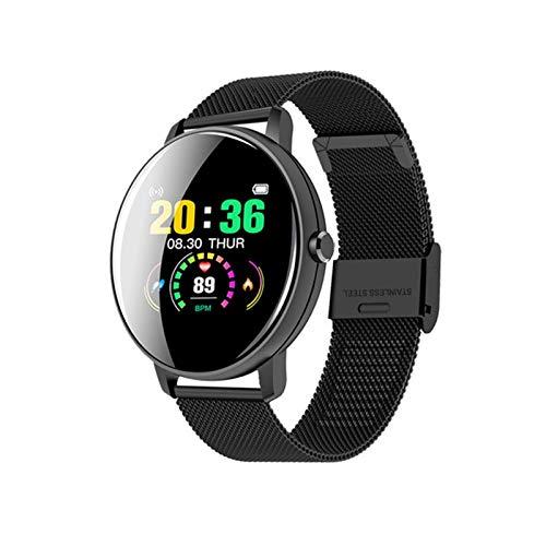 LYB Reloj inteligente de tacto completo para hombre con presión arterial, reloj inteligente para mujer, impermeable, ritmo cardíaco, podómetro, reloj deportivo (color de acero negro)